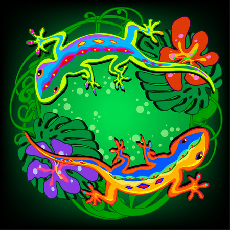 illustration in the form of a circle of colored lizards on a tropical background with flowers and leaves