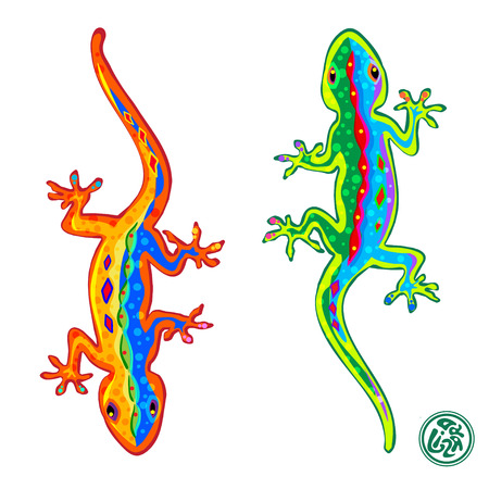 saurian: Beautiful stylized colored lizards isolated on white background, Gecko.