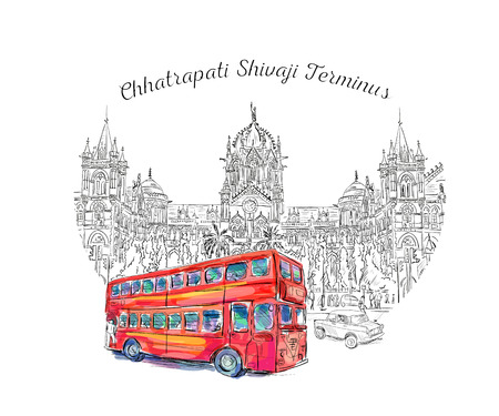 terminus: Chhatrapati Shivaji Terminus and red bus an historic railway station in Mumbai, Maharashtra, India. Vector illustration