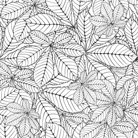 cleft: seamless pattern made Isolated skeletal chestnut leaf with veins. vector illustration