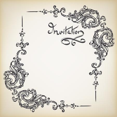 Rococo frame with a handwritten inscription INVITATION with retro ornament pattern in antique baroque style decorative design