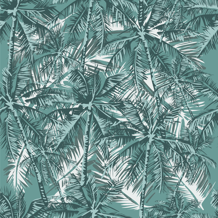 Seamless vector tropical pattern depicting palm trees in vintage pastel colors