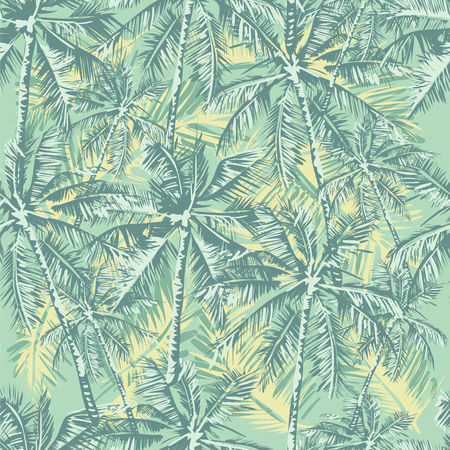 leaf color: Seamless vector tropical pattern depicting palm trees in vintage pastel colors