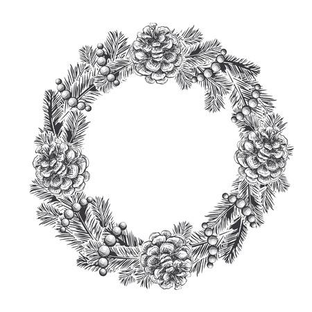 リアルなヴィンテージのモミの枝、松ぼっくり、白い背景で隔離のビーズの花輪を彫刻します。クリスマスと新年のデザイン要素
