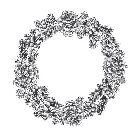 Realistic vintage engraving wreath of fir branches and pine cones, beads isolated on white background. Christmas and New Year design elements