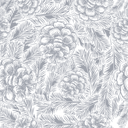 seamless pattern of pine cones and spruce branches Illusztráció