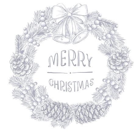 전나무 분기와 소나무 콘, 손으로 쓴 비문 메리 크리스마스, 크리스마스 공, 흰색 배경에 고립 된 구슬 구슬의 현실적인 빈티지 조각 안주. 크리스마스