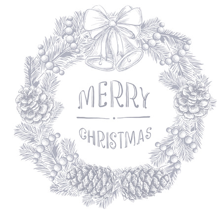 Realistic vintage engraving wreath of fir branches and pine cones, handwritten inscription Merry Christmas,  Christmas ball, beads beads isolated on white background. Christmas and New Year design elements