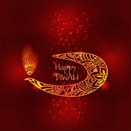 dipawali: Abstract illustration of burning diya on Diwali Holiday for Indian festival Illustration