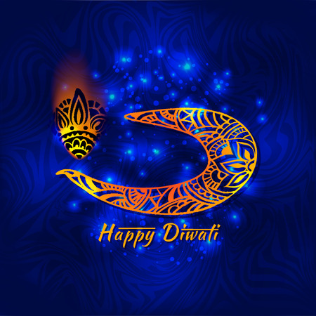 diwali celebration: Abstract illustration of burning diya on Diwali Holiday for Indian festival Illustration