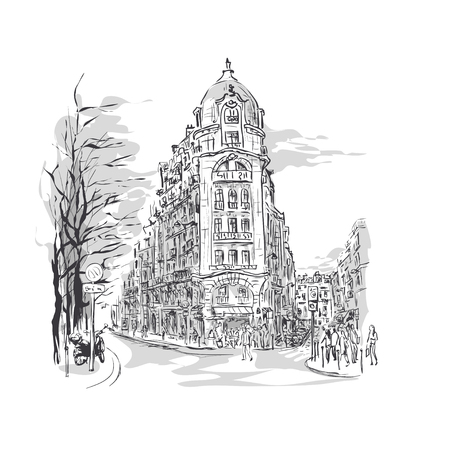 building sketch: sketch of Parisian street with corner building and walking people, street cafes, trees and  scooter Illustration