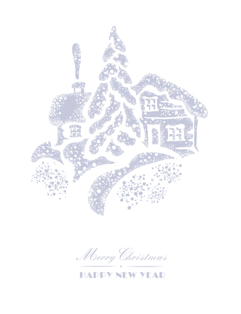 snow white: Christmas card. Snow Covered cottage, snow drifts and spruce on a white background. The image is made in the old style