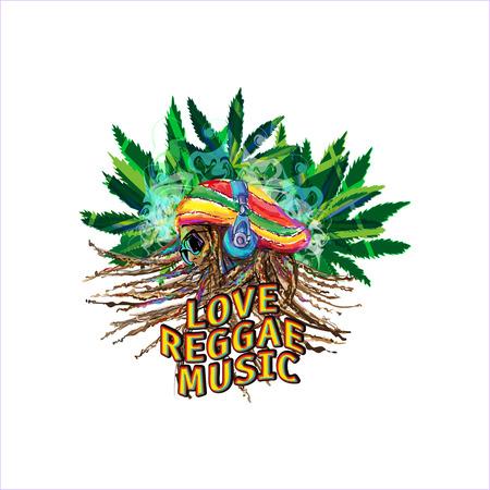 reggae: Profil rastafari dans des �couteurs avec des dreadlocks sur le fond de feuilles de marijuana et la fum�e Illustration