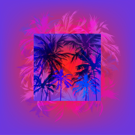 tropical sunset: Tropical sunset on palm beach, can be used for a poster, or printing on fabric