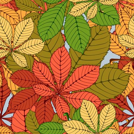 venation: seamless randomly pattern made Isolated colored autumn chestnut leaves . vector illustration