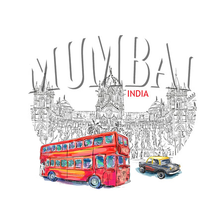 double decker bus: Chhatrapati Shivaji Terminus and red bus an historic railway station in Mumbai, Maharashtra, India. Vector illustration