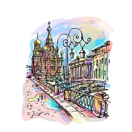 resurrección: Iglesia de la Sangre Derramada o Iglesia de la Resurrección de Nuestro Salvador en San Petersburgo, Rusia en Griboedova Canal. Vectir Vectores