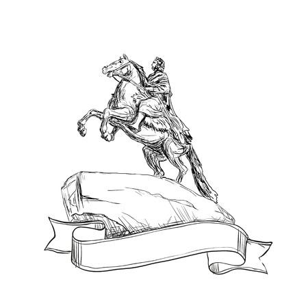 uomo a cavallo: Pietro il Grande Monumento o Cavaliere di bronzo, San Pietroburgo punto di riferimento, in Russia.