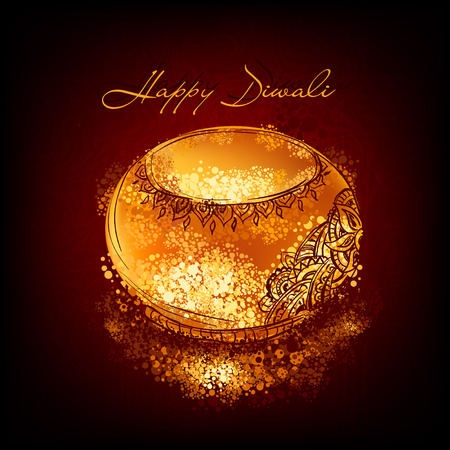 diwali: Vector  illustration of burning diya on Diwali Holiday for Indian festival