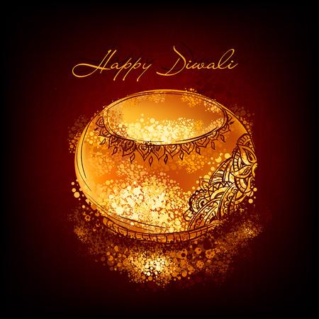 Vector  illustration of burning diya on Diwali Holiday for Indian festival