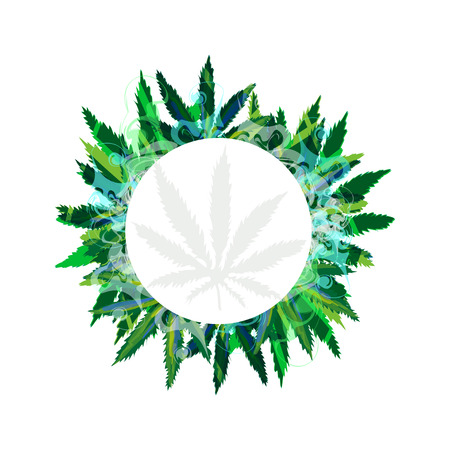 Vector Banner Of Marijuana And Cannabis Leaves On A Yellow