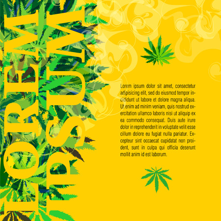 joint: Vector banner of marijuana and cannabis leaves on a yellow background with place for text