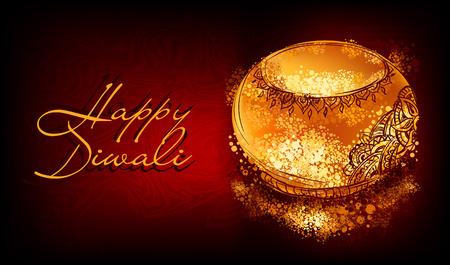 インドのお祭りディワリ祭休日に燃えている diya のベクター バナー  イラスト・ベクター素材