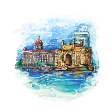 hotel icon: Mumbai, India Gate and the Taj Mahal Hotel Mumbai, the view from the Arabian Sea. Vector multicolor illustration.