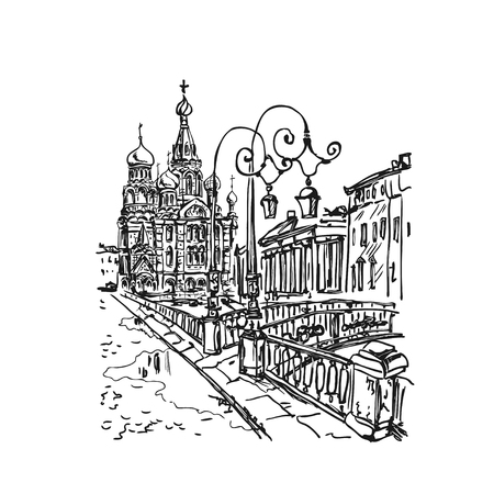 sketch Church on Spilled Blood or Resurrection Church of Our Savior in Saint Petersburg, Russia on Griboedova Canal. Vector
