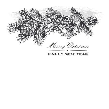 전나무 분기와 소나무 콘, 흰색 배경에 고립 된 구슬의 현실적인 빈티지 조각 안주. 크리스마스와 새 해 디자인 요소