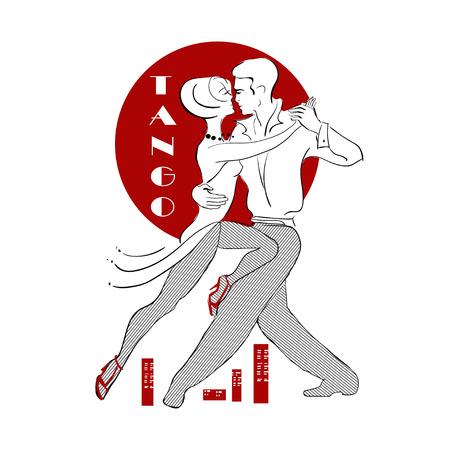 heterosexual: Estilizada apasionada pareja que baila tango heterosexual contra el fondo del sol rojo y la ciudad de abajo