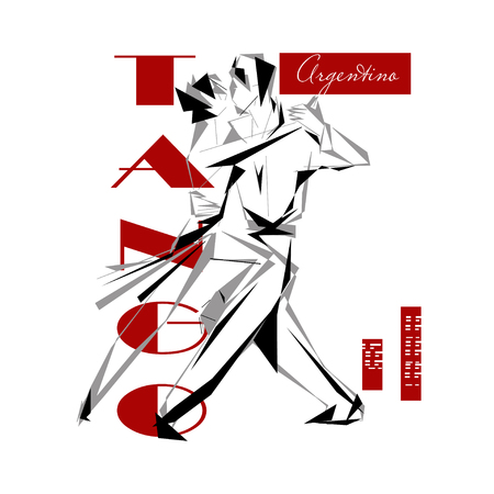 tango: Stylized passionate heterosexual couple dancing tango Illustration