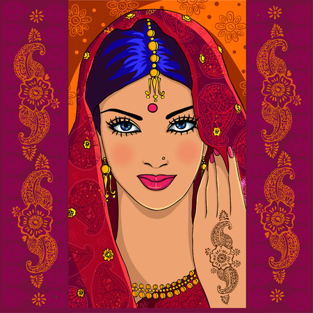 Portrait of an Indian woman with mehndi and paisley Stock Illustratie