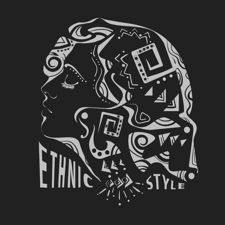 ethnic style: Handmade stylized portrait of women in ethnic style on a black background with the inscription. It can be used as a print for shirts