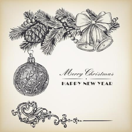 Guirnalda realista grabado de la vendimia de ramas de abeto y piñas, bolas y bolas de Navidad. Elementos de diseño de Navidad y Año Nuevo