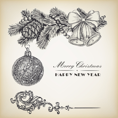 evergreen branch: Guirnalda realista grabado de la vendimia de ramas de abeto y piñas, bolas y bolas de Navidad. Elementos de diseño de Navidad y Año Nuevo Vectores