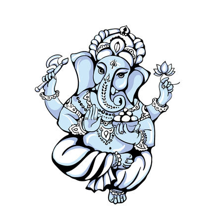 vector isolated image of Hindu God Ganesh  on white background. Ganesh Chaturthi. It is used for postcards, prints, textiles, tattoo.