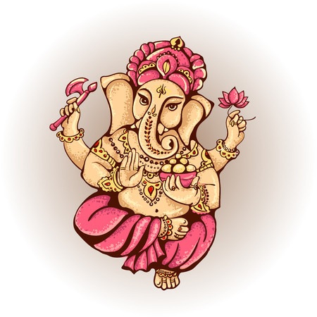 vector isolated image of Hindu lord Ganesh. Ganesh Puja. Ganesh Chaturthi. It is used for postcards, prints, textiles, tattoo.