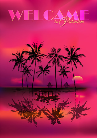 tropical beach panoramic: silhouettes of palm trees against the background a multicolor tropical sunset with a fishing boat in the foreground.