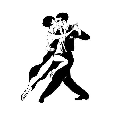 bailarines de salsa: Estilizada apasionada pareja heterosexual baile de tango Vectores