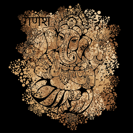 puja: vector isolated image of Hindu lord Ganesh. Ganesh Puja. Ganesh Chaturthi. It is used for postcards, prints, textiles, tattoo.