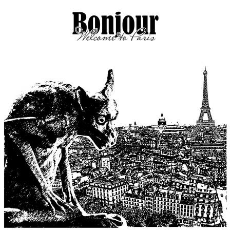 gargouille: Chimera et la pierre gargouille avec la ville de Paris sur fond. Vue de Notre Dame de Paris. Illustration
