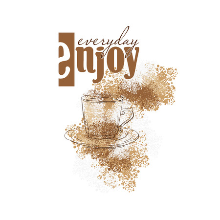 coffee pot: coffee background for coffee menu with a cup, coffee pot and coffee crumbles. it is suitable for shop, cafe, restaurant Illustration