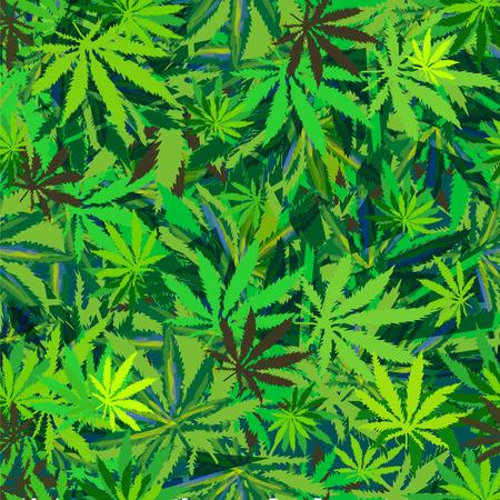 ganja: cannabis marijuana leaves seamless background.  Illustration