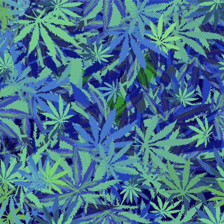 cannabis marijuana leaves seamless background.  Vectores