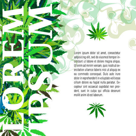 Vector banner of marijuana and cannabis leaves on a yellow background with place for text