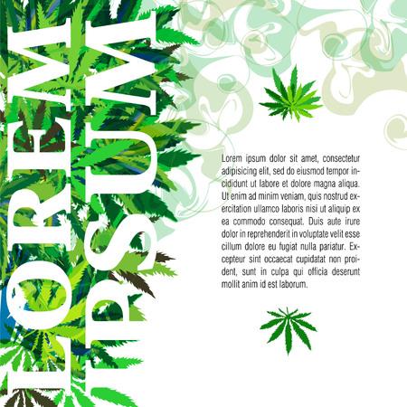 marihuana: vector de la bandera de la marihuana y el cannabis deja sobre un fondo amarillo con el lugar de texto