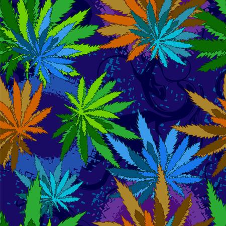 cannabis marijuana leaves seamless background.  Illusztráció