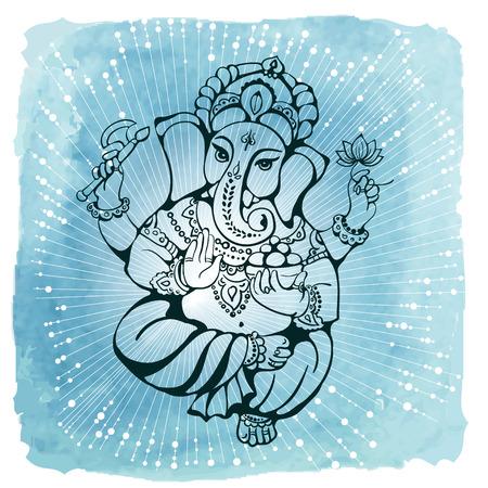 hindu god: vector isolated image of Hindu God Ganesh  on white background. Ganesh Chaturthi. It is used for postcards, prints, textiles, tattoo.