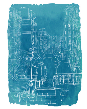 european culture: Vector illustration of a view of Montmartre in Paris